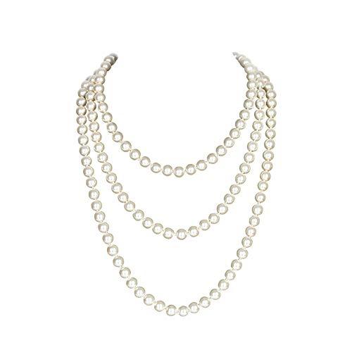 """Yuccer Perlenkette Lang, 20er Jahre Accessoires für Damen Modeschmuck Kette Lang, 59""""/150cm"""