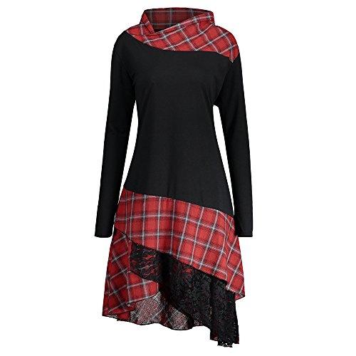 CharMma Frauen Übergröße Mock Neck Top Asymmetrisch Spitzen Bluse Langarm Kleid (4XL, Schwarz+Rot)