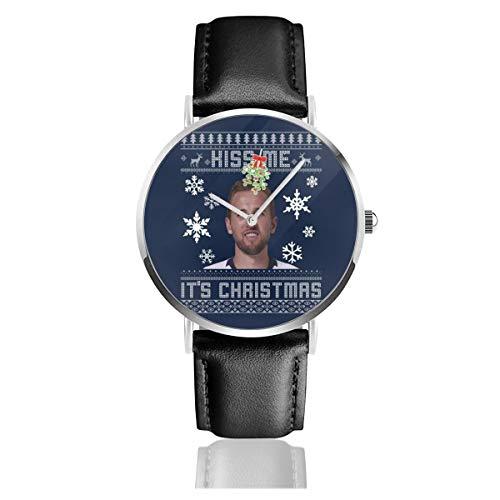 Unisex Business Casual Harry Kane Kiss Me Its Christmas Strickmuster Uhren Quarz Leder Armbanduhr mit schwarzem Lederband für Männer und Frauen Young Collection Geschenk