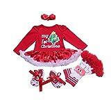 BabyPreg Neonate Il Mio Primo Natale Babbo Costume del Partito del Vestito 4PCS (9-12 Mesi, Albero Rosso)