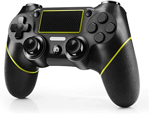 Diswoe PS4 Controller, Wireless Controller for Playstation 4/Pro/Slim/PC, Touch Panel Gamepad with Dual Vibration and Audio Function, USB Cable, Anti-Slip Grip and Mini LED Indicator