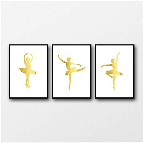Ywsen gouden ballerina poster en prints abstracte danseres canvas schilderij Nordic wandschilderijen voor woonkamer decoratie 3 stuks, geen lijst, 40x60 cm x 3