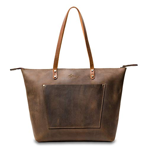 Personalized Handcrafted Rustic Everyday Leather Tote, Heavy Duty Full Grain Cow Hide Work/Market Tote Bag, LaSalle