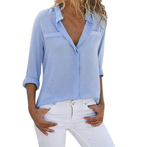 Daoope Tshirt Donna Elegante - Maglie Donna Estive Sexy - T Shirt Donna Sexy - Maglie Donna Cotone Manica Lunga Maglietta Elegante Sexy Casual Tops Blusa Taglie Forti Maglia Maglione