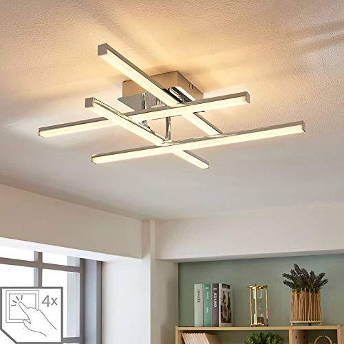 Lindby LED Deckenlampe modern, dimmbar | warmweiß (3.000K) | 4 flammig, inkl. LED Leuchtmittel A+ | LED Deckenleuchte für Wohnzimmer, Esszimmer | Lampe Metall chrom, weiß