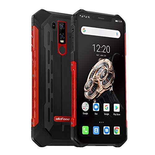 Ulefone Armor 6S (2019) Outdoor Smartphone mit Qi fähig, 6GB RAM + 128GB interner Speicher Helio P70 Android 9.0 Handy IP69K, 6.2 Zoll FHD+ Bildschirm, 5000mAh Akku, UV-Detektor, Globale 4G Version (Rot)