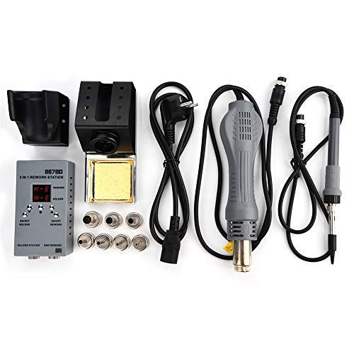 0IRHP100A-03Station 8878d 700W 2en 1SMD Soldadura Aire Caliente ventiladores Soldador Digital sudor Herramientas con 7boquillas (enchufe de la UE)