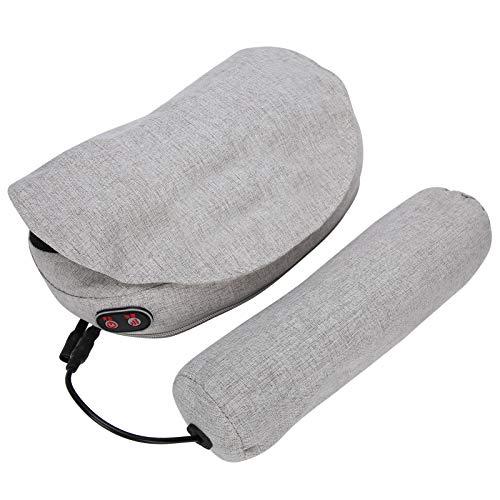 Masajeador de hombros y cuello, almohada de masaje de espalda eléctrica con calor, amasamiento profundo de tejido para músculos de todo el cuerpo, uso en la oficina en casa y en el automóvil- gris(EU)