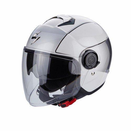 Scorpion Casco de moto EXO CITY WIND Blanco Plata, Blanco/Negro, XL