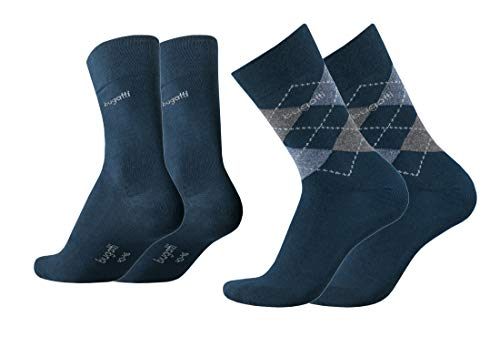 bugatti Herren Socken 4er Pack Argyle + uni dark navy,anthrazit melange, Size:43-46, Farben:indigo