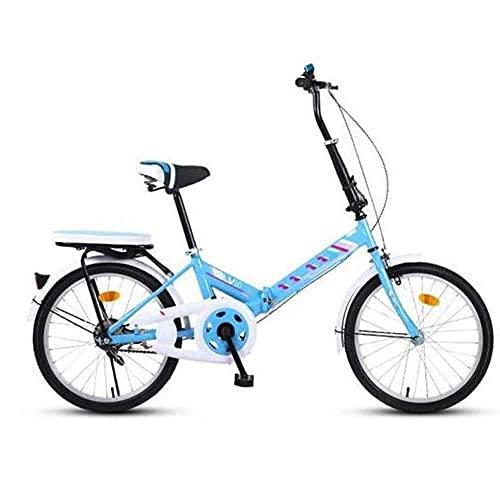 Bicicleta de montaña plegable de 16 pulgadas, bicicleta plegable urbana, bicicleta plegable compacta, marco de soporte de doble tubo de acero con alto contenido de carbono, diseño más seguro, azul