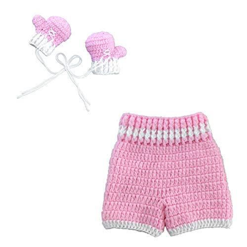 Neugeborene Fotografie Requisiten Gestrickt Boxhandschuh Hosen Outfit Baby Häkeln Foto Requisiten Kleidung Babyparty Geschenk für 0-4 Monate Jungen Mädchen (Rosa)