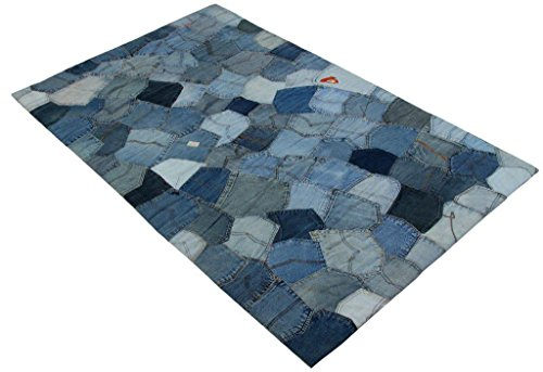 Fashion Contemporary Vintage Retro Denim Pockets Area Rug, 24x36', Perfect for Living Room, Kitchen, Bed Room, Loft, Media Room, Game Room, Office and more