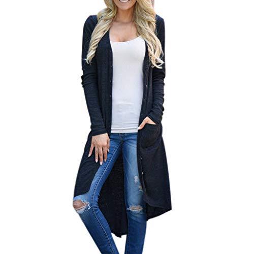 showsing-vrouwen kleding Womens Cable Knit Lange Vest met zijzakken, Dames Casual Lange Mouw Effen Kleur Knop Down Warm Lange Vest Jas