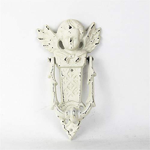 LIUXING Dekorativer Türklopfer Schäbiger weißer Engel mit Flügel-Roheisen-Eisen-Türklopfer für Land-Häuschen-Patio-Hof-Reihenhaus-Landsitz (Farbe : Iron, Größe : Einheitsgröße)