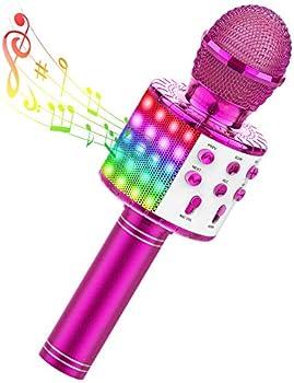 Tecboss 4 in 1 Portable Wireless Bluetooth Microphone Machine w/LED Lights