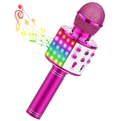 TECBOSS Karaoke Microphone for Kids, 4 in 1 Portable Wireless Bluetooth Microphone Machine with LED Lights, Toys Gifts for Kids Girls Teens Adults