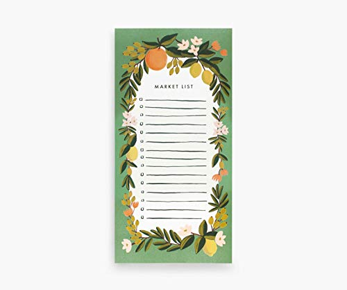 Rifle Paper Co. Bloc de notas de mercado con diseño floral cítrico de Julep, 65 páginas, cuenta con un imán adjuntable, texto de papel blanco cálido, diseño único pintado a mano
