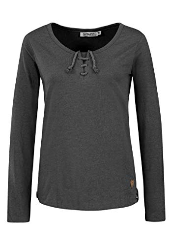 Sublevel Damen Basic Langarm-Shirt mit Kordeln Rundhals Dark-Grey M