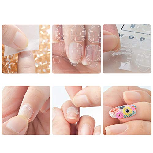 Lurrose 16sheets Nail Art Kleber Aufkleber doppelseitig falsche Nagelspitzen Umwelt transparent Nagelkleber