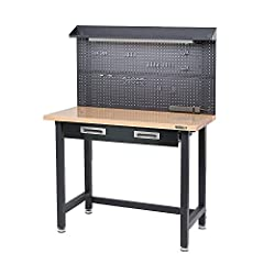 "Workbench dimensions: 48""L x 24""W x 37.5""H Pegboard dimensions: 48""L x 24""W Cantilver shelf dimensions: 48""L x 6""W x 4""H Heavy-duty steel frame with leveling feet Fluorescent light fixture and power strip"