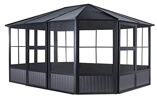 Sojag 12' x 15' Charleston Solarium Outdoor Sunroom with Mosquito Nets, Dark Grey