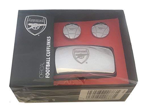F.C.Arsenal - Team Wappen - Offizielles Fußball (Fußball) Geformt Manschettenknöpfe - Silbern, One Size