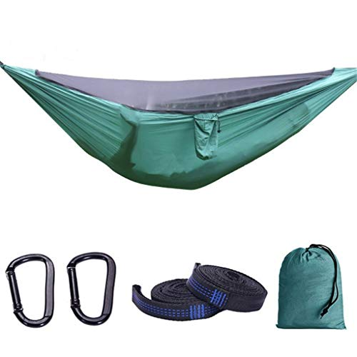 Outdoor Ultralight Nylon Double Hammock, Detachable Encrypted Mesh Hammock, The Best Parachute Double Hammock For Backpack, Camping, Travel, Beach, Paddock ( Color : Army Green , Size : 280140cm )