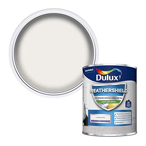Dulux Weather Shield Quick Dry Satin Paint, 750 ml - Pure Brilliant White