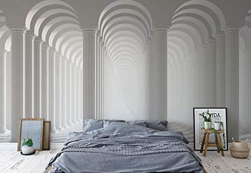 3D-Säulen Optische Täuschung Vlies Fototapete Fotomural - Wandbild - Tapete - 368cm x 254cm / 4 Teilig - Gedrückt auf 130gsm Vlies - 3047V8-3D