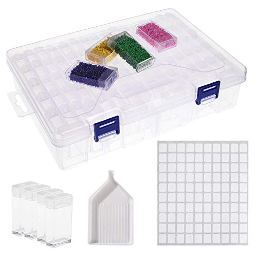 Arranpaces Art Diamond Painting Storage Containers 84Grid Small Beads Nail Craft Storage Box Diamond Embroidery Accessories Case with 200pcs Stickers, Funnel Tray
