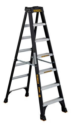 DeWalt DXL3010-07 7-Feet Fiberglass Stepladder Type IA with 300-Pound Duty Rating, 7-Feet, Color may vary,Black