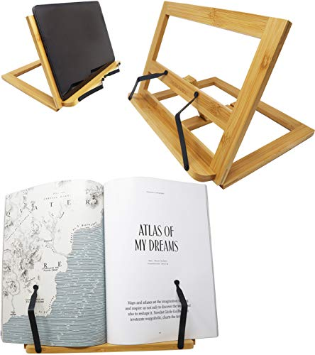 """Bamboo Tablet Stand Holder Adjustable Foldable Book Reading 12"""" x 8"""" x 2"""" Rest Cookbook Recipe Tray"""