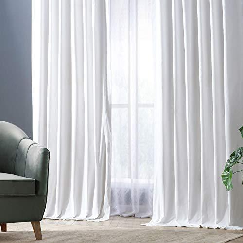 HPD Half Price Drapes PRCT-BO09B-96 Solid Cotton Blackout Curtain (1 Panel), 50 X 96, Whisper White