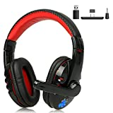 R Star Bluetooth Gaming Headset Wireless Headphone with Bluetooth Adapter for PS4/PC/Mobile Game Over-Ear Headphones Stereo with Bass Surround Noise Cancelling(Use Method in The Link Picture)