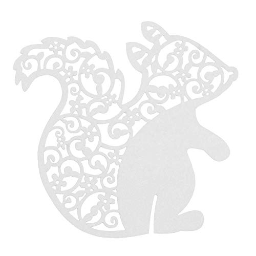 AHAPPY 50pcs 3D Laser Cut Squirrel Cards Wine Glass Cup Card for Wedding Favors, Party [White]