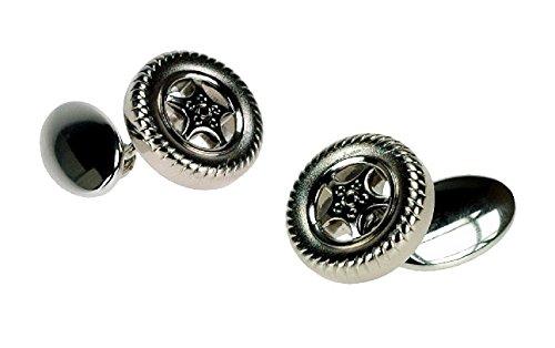 Onyx-Art London Pneu sur chaîne plaqué argent Boutons de manchette dans une boîte cadeau Ck320