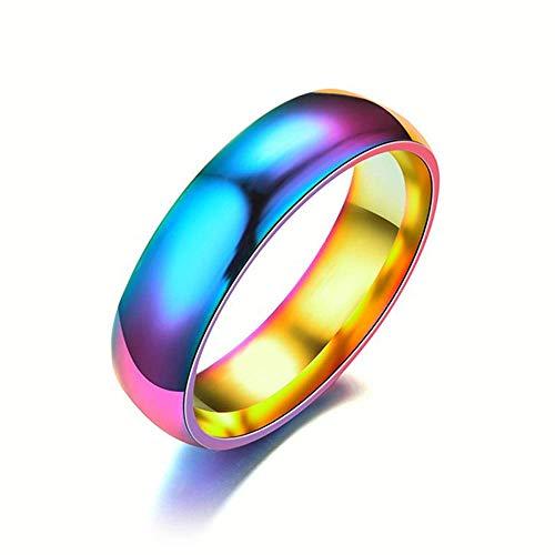 LDS Stilvolle Einfachheit 8Mm Herren Edelstahl Sieben Farben Regenbogen Paar Ring, Größe N.X