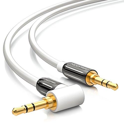 deleyCON 1,5m Cavo Jack 3,5mm Cavo AUX Audio Stereo Plug 1x 90° ad Angolo per PC Laptop Mobile Smartphone Tablet Auto HiFi Ricevitore - Bianco