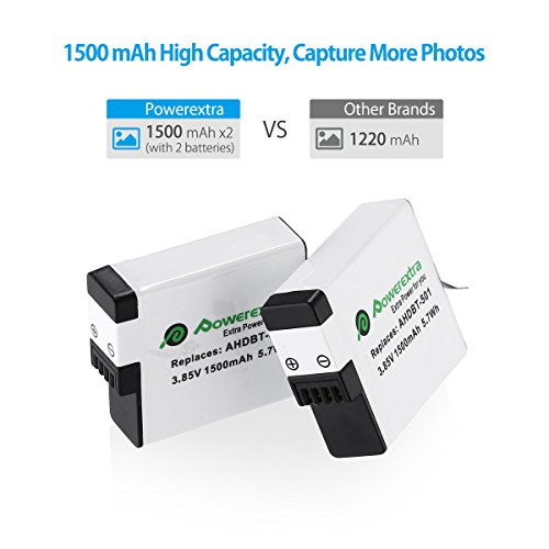 Powerextra Upgraded 2X Battery Compatible with GoPro Hero (2018) GoPro Hero 7 Black GoPro Hero 6 Black GoPro Hero 5 Black, Compatible with All Updates Firmware