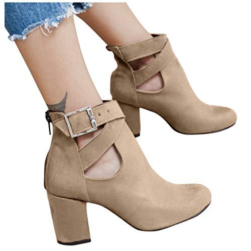 DNOQN Stiefeletten Damen Leder Springerstiefel Boots Herbst Freizeitschuhe Fashion Solid Single Schuhe Kurze Stiefel Khaki 36