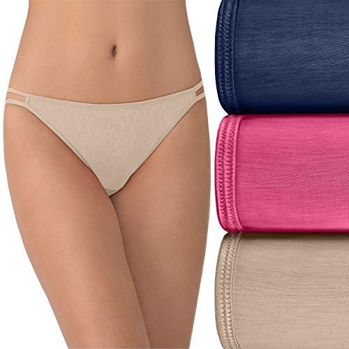 Vanity Fair Women's Illumination String Bikini Panty 18108, Admiral Navy/Jane Grey Pink/Rose Beige, Large/7