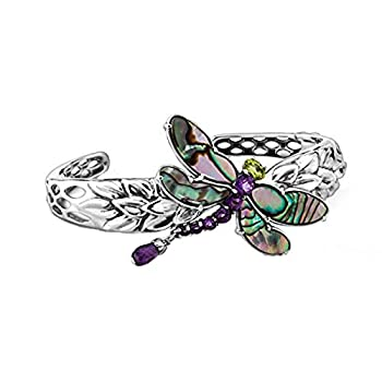 Carolyn Pollack Sterling Silver Abalone Purple Amethyst and Green Peridot Gemstone Dragonfly Cuff Bracelet Size Large