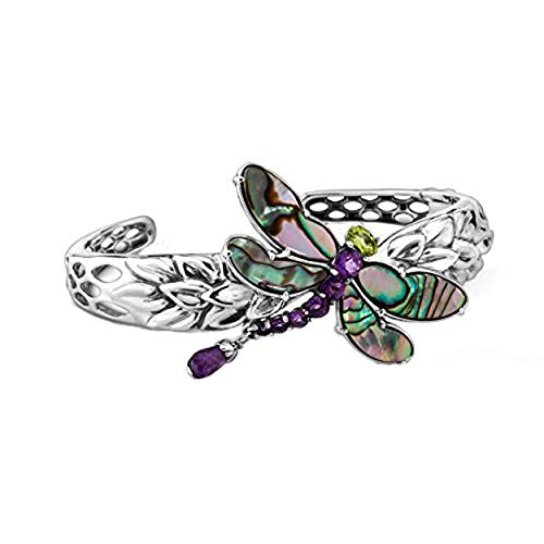 Carolyn Pollack Sterling Silver Abalone, Purple Amethyst and Green Peridot Gemstone Dragonfly Cuff Bracelet Size Large
