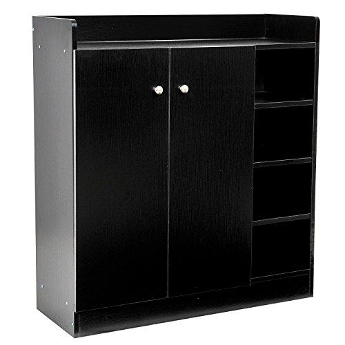 Homcom Schoenenkast van hout, entrekkast met 2 deuren, 3 planken, 83 x 30 x 90 cm, zwart