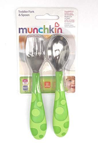 Munchkin - Juego de cuchara y tenedor para bebés (12 meses, sin bisfenol A) verde