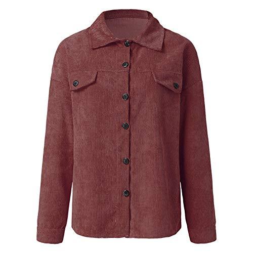 Damen Cordjacke Vintage Mantel, Lang Streifen Jeansjacke Knöpfe Corduroy Leichte Mäntel Einfarbig Outerwear Outdoorjacke Tops