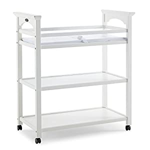 Graco Lauren Changing Table with Water-Resistant Change Pad and Safety Strap, White, Multi Open Storage Nursery Changing Table for Infants or Babies