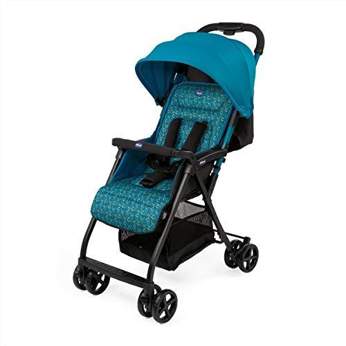 Chicco Ohlala 2 - Silla de paseo ultra ligera y compacta, fácil conducción, solo pesa 3,8 kg, color rosa estampado azul verdoso (Digital)