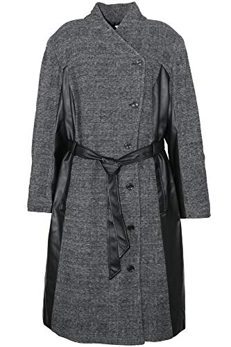 Sheego Mantel Kurzmantel Wintermantel Gehrock Jacke Damen Plusgröße, Farbe:grau, Damengrößen:50